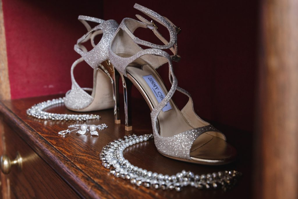 Bride's shoes and jewellery