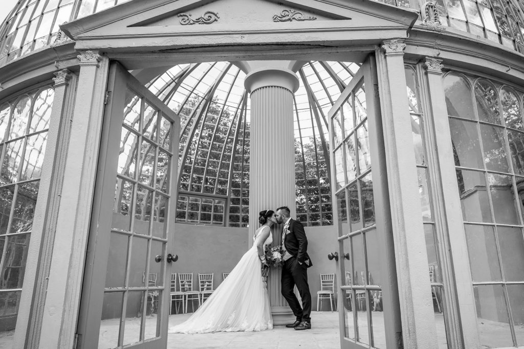 Hilton Hall Wedding Portrait in the glass dome conservatory