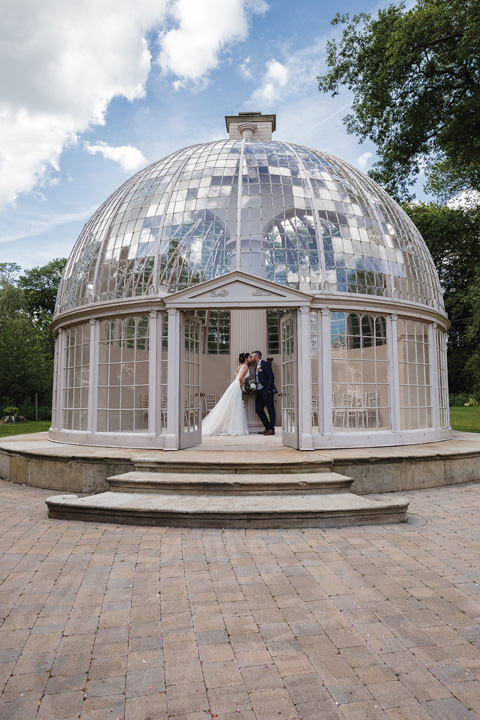 Hilton Hall wedding in the glass dome conservatory