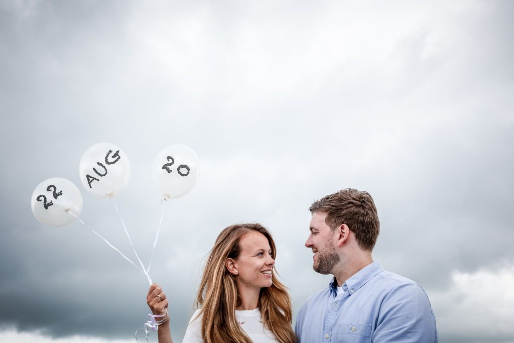 Peak District engagement shoot with Save The Date Balloons
