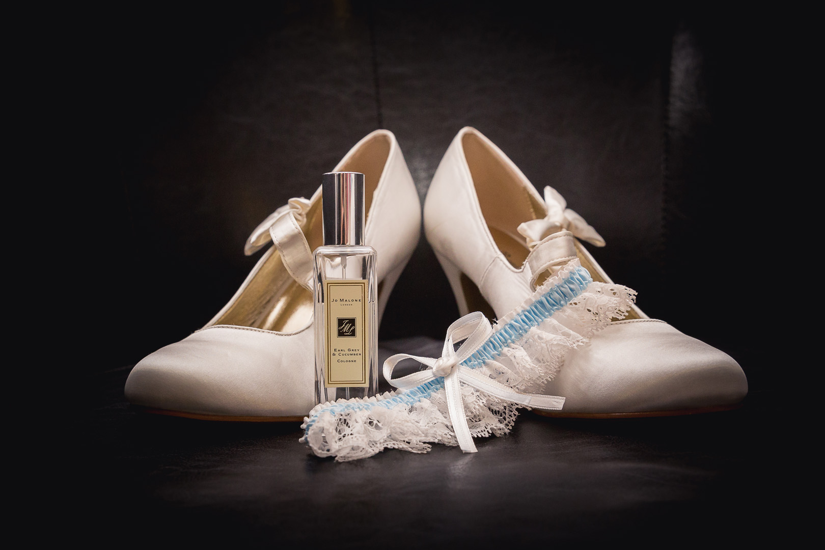 Bride's shoes and perfume