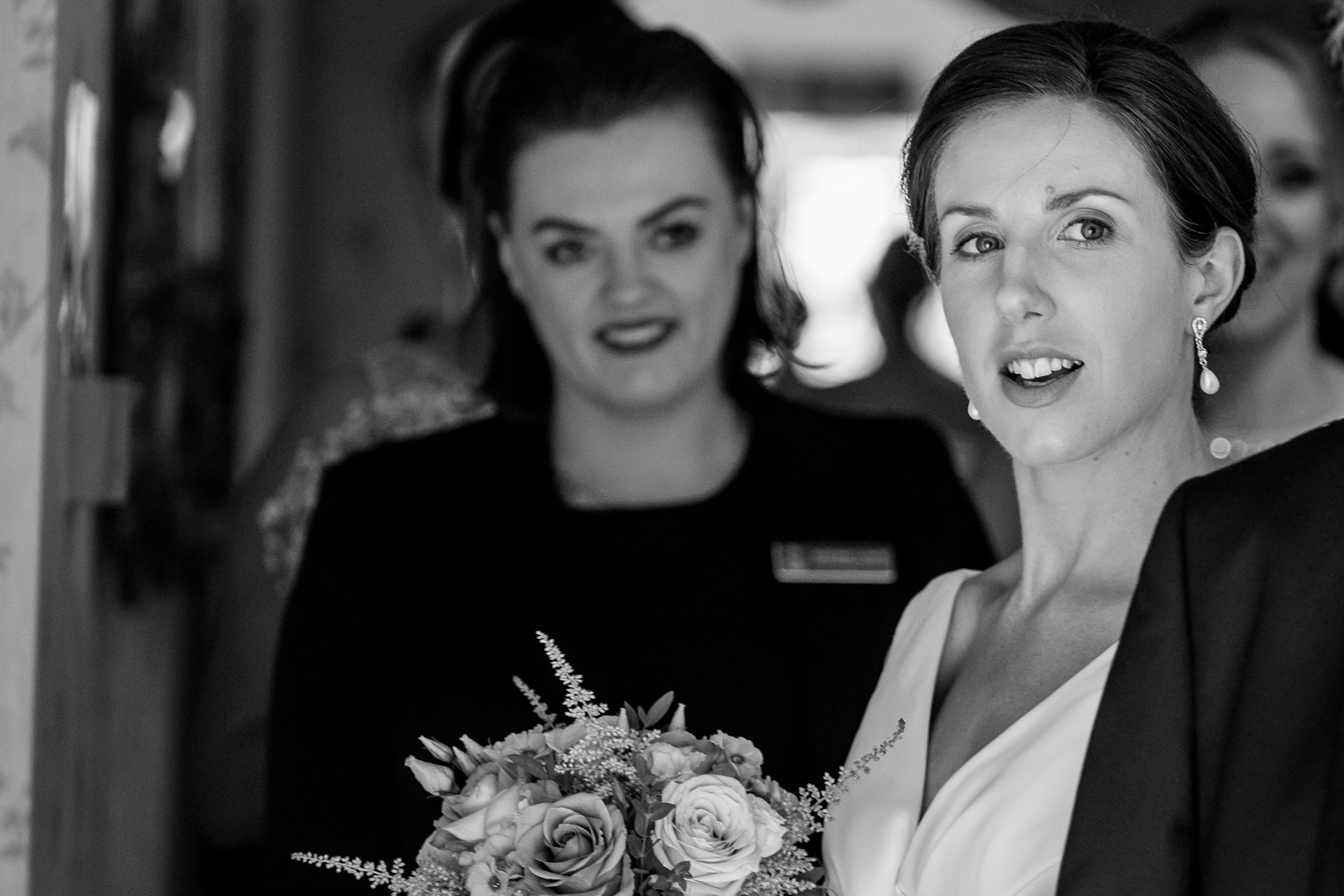 Bride looking out at her west retford hotel wedding
